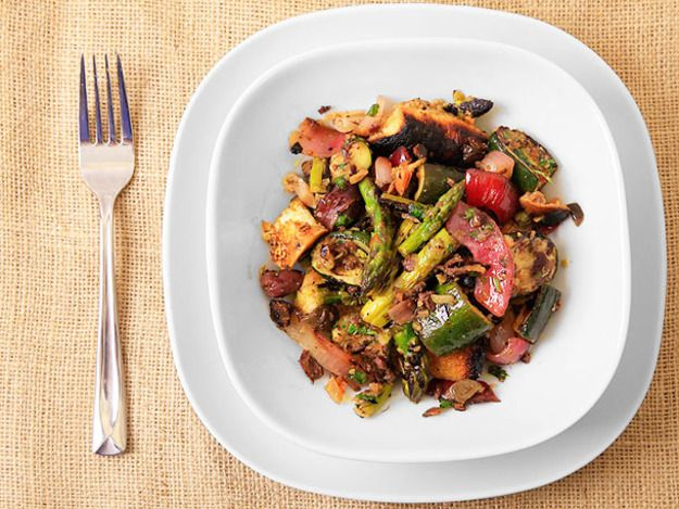 Grilled Asparagus, Zucchini, and Bread Salad with Olive-Caper Dressing