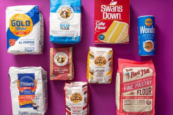 Different types of wheat flour: all-purpose flour, bread flour, cake flour, instant flour, pastry flour, durum flour, tipo 00 flour, whole wheat flour, and self-rising flour flour,