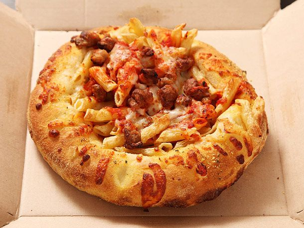 Bread bowl pasta from Dominos in a delivery box