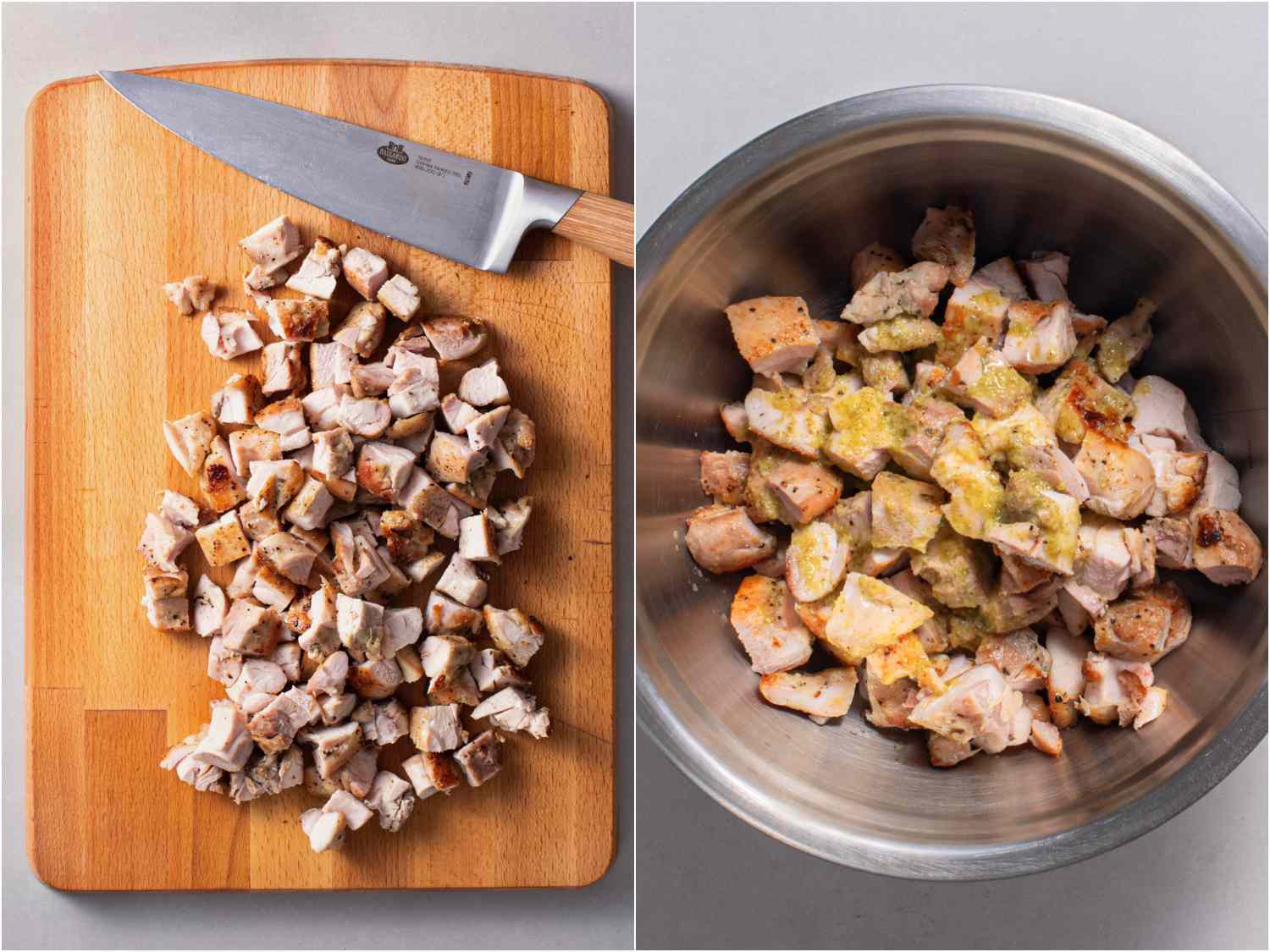 collage: chicken chopped into small pieces on a cutting board; chicken pieces added to bowl with remainder of marinade