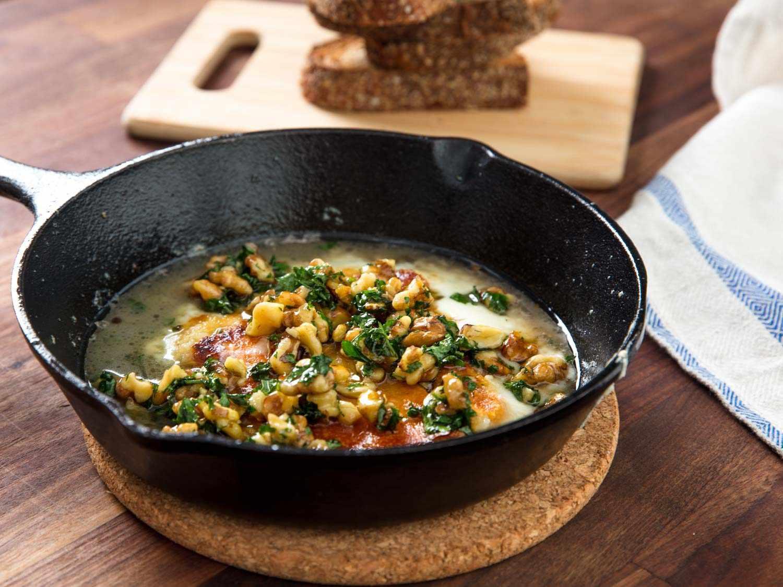 Pan seared greek cheese with walnut vinaigrette