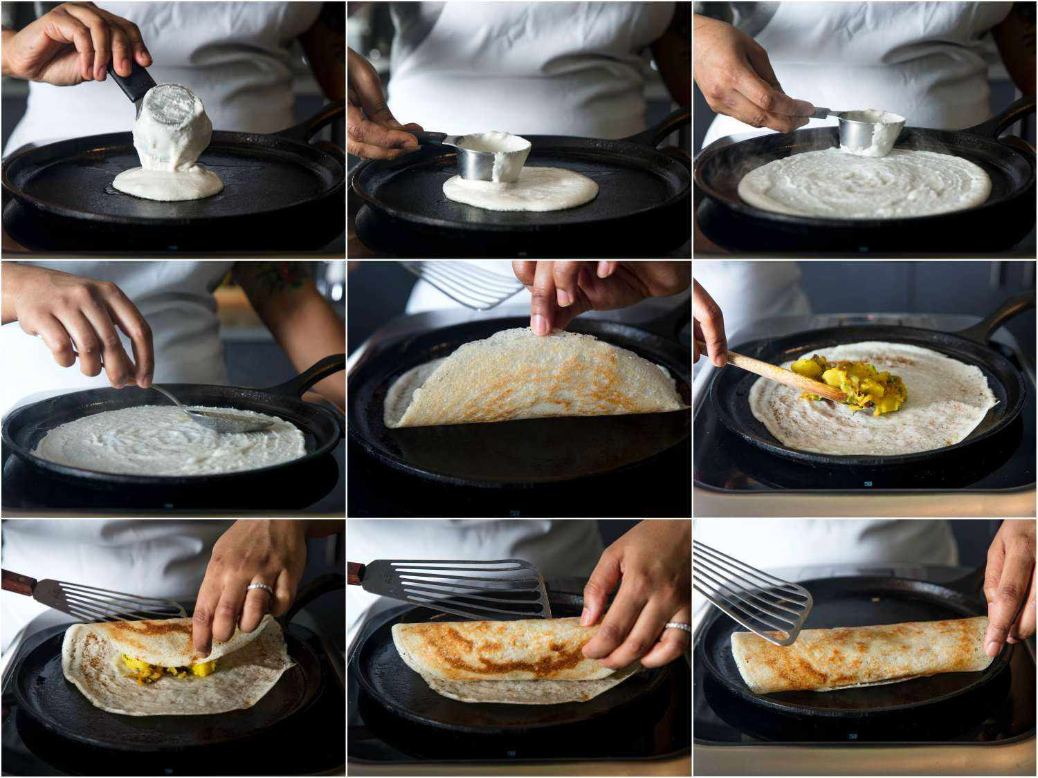 Collage showing stages of making a dosa: dropping batter onto a griddle, smoothing into a round, lifting edges, adding filling, and folding over