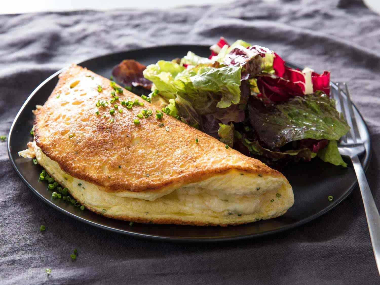 an omelette soufflé on a plate