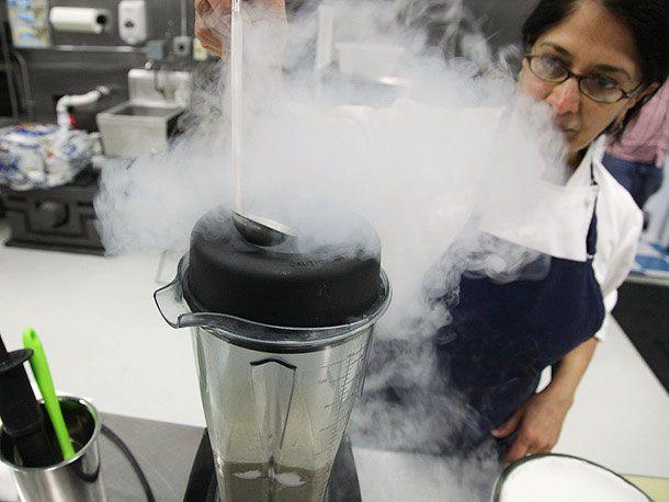 blending milkshake with liquid nitrogen