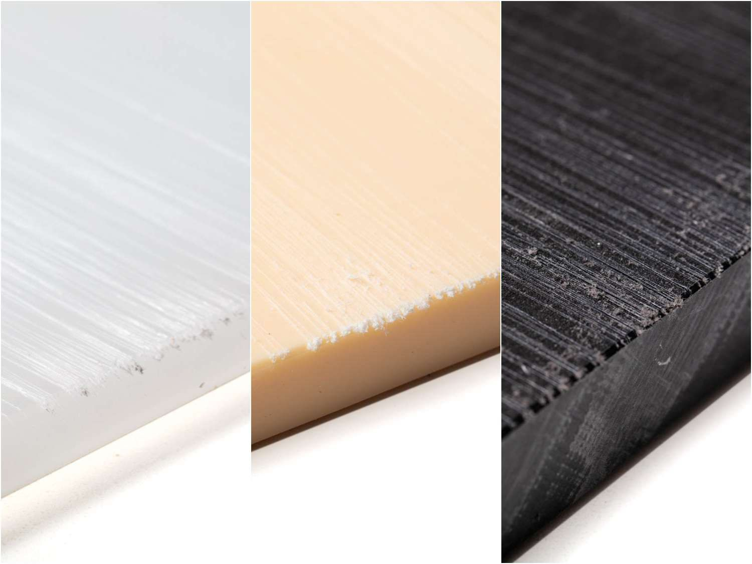 Which plastic cutting board material is most durable? This composite shot shows the knife damage to three examples.