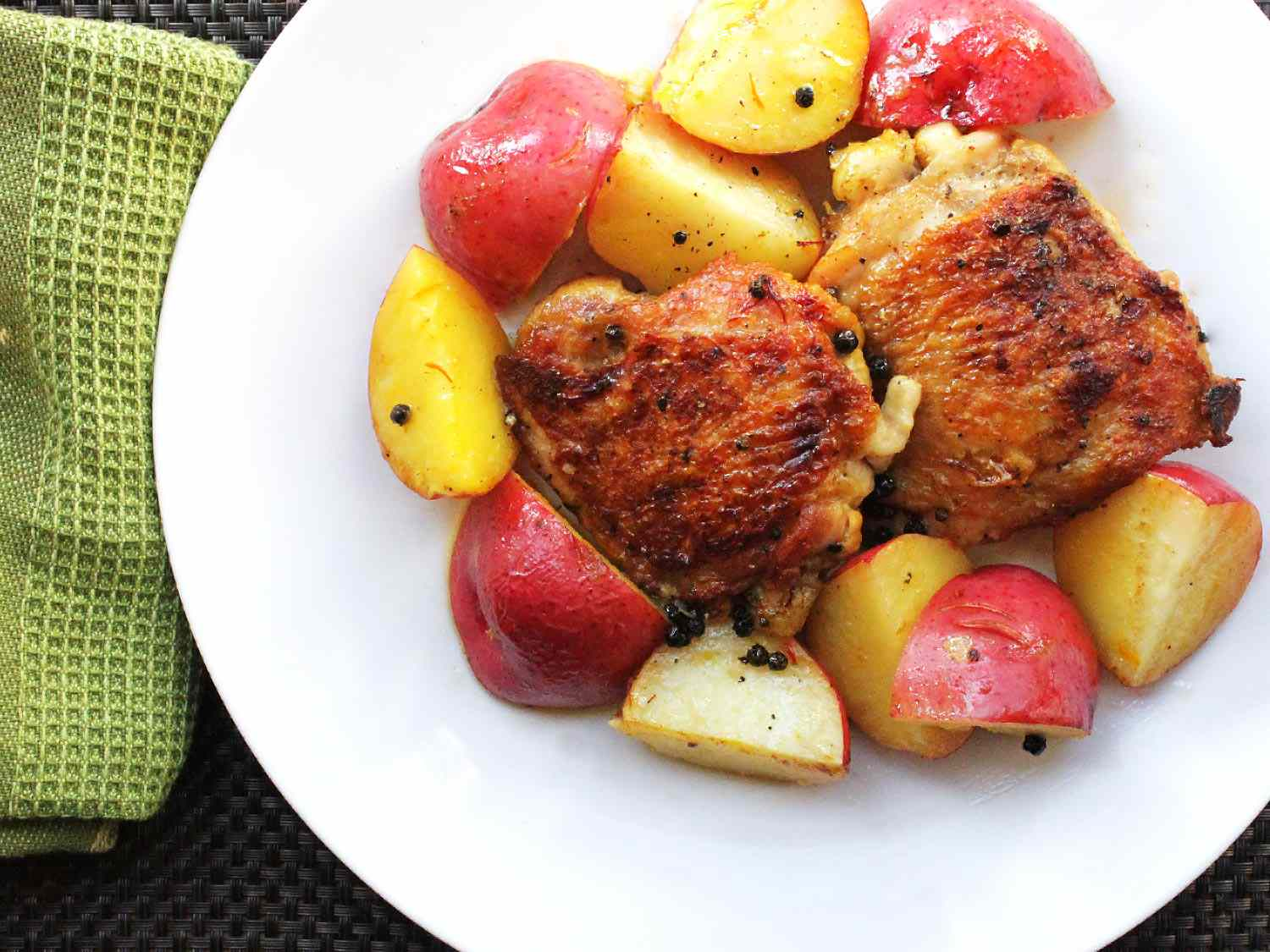 Crispy Chicken With Saffron, Lemon, and Red Potatoes