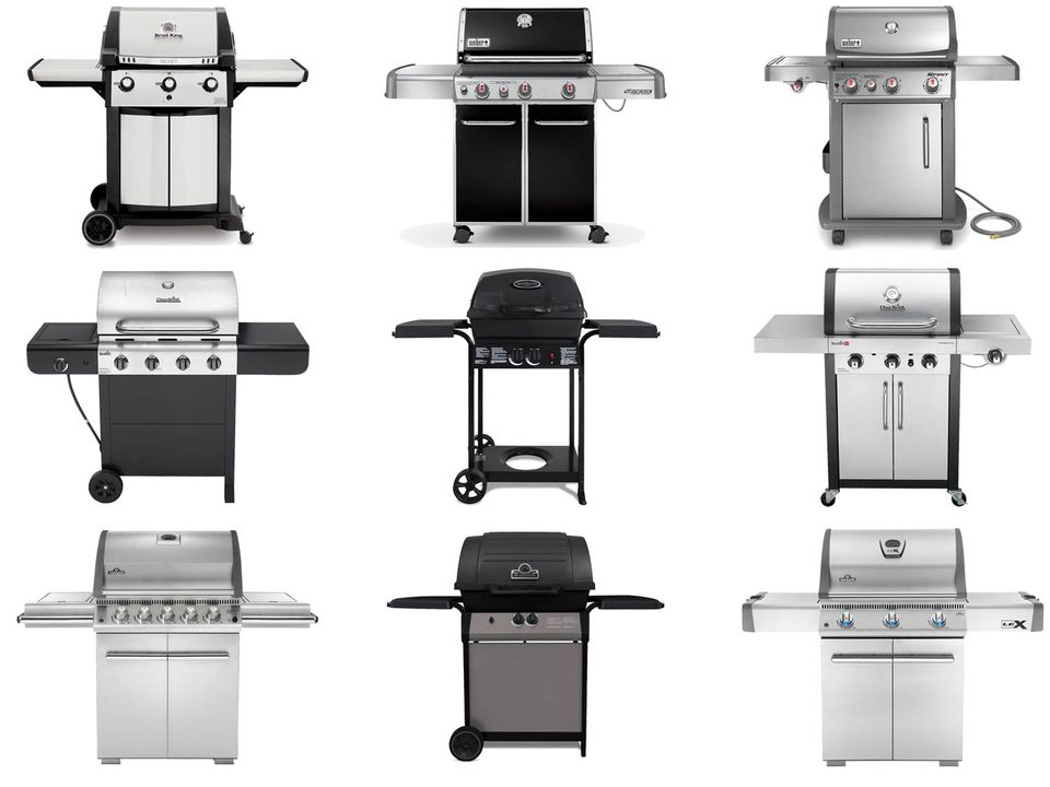 Collage of various gas-fueled grills