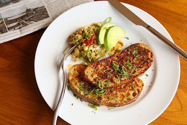 Savory Cheese-Crusted French Toast with Garlic and Parmesan
