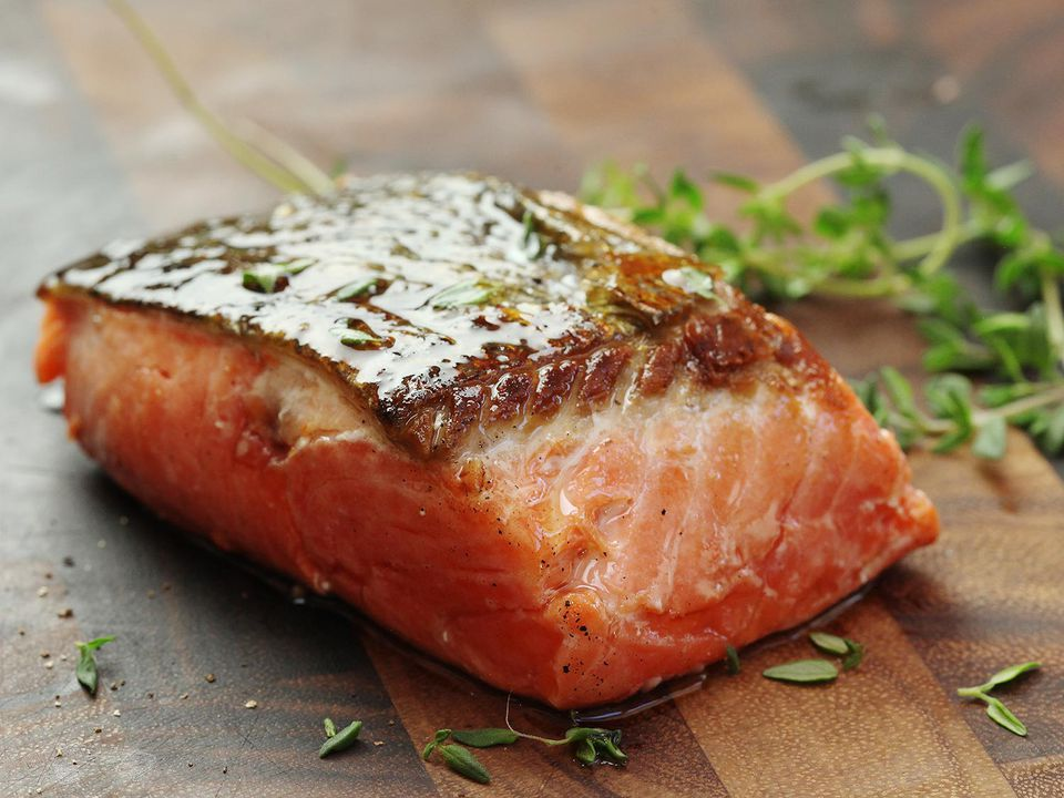 A skin-on salmon fillet that has been cooked sous vide and then seared.