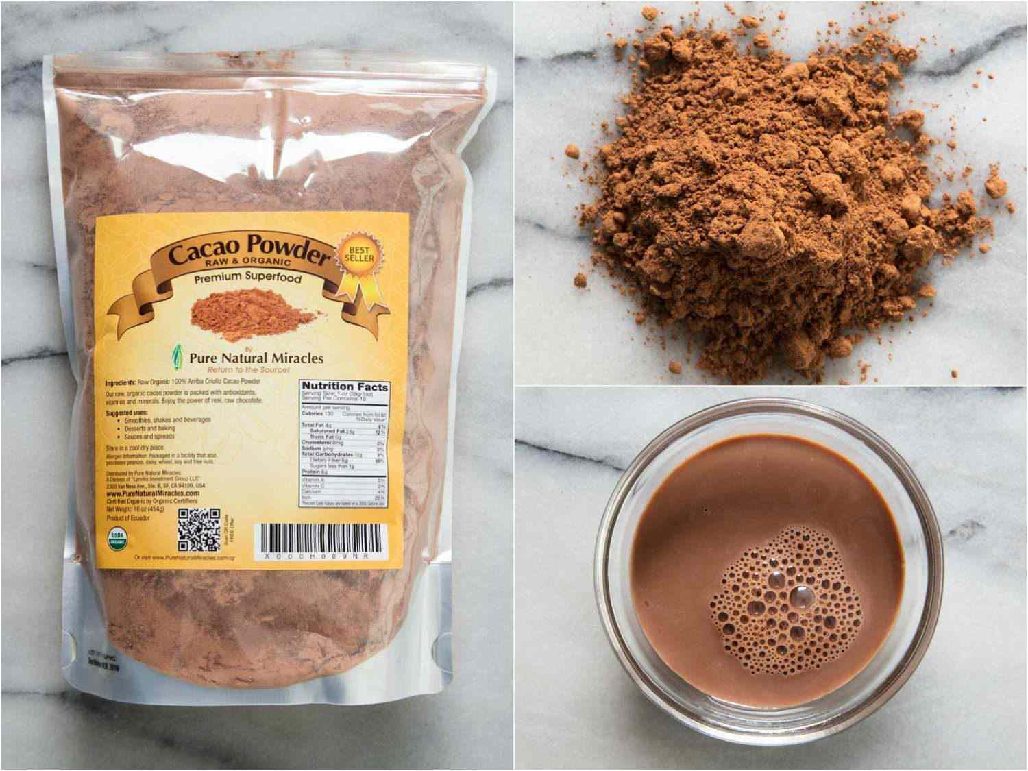 Collage of Pure Natural Miracles cocoa powder, by itself, in hot cocoa, and in the packaging