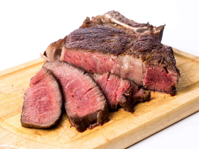 Cooked steak, sliced