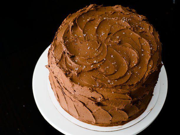 chocolate cake with ganache icing and sea salt