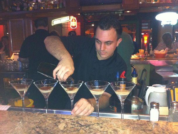 bartender making martinis