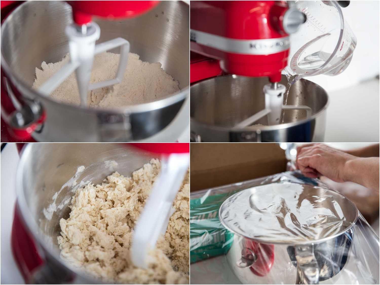 Collage of mixing ramen dough