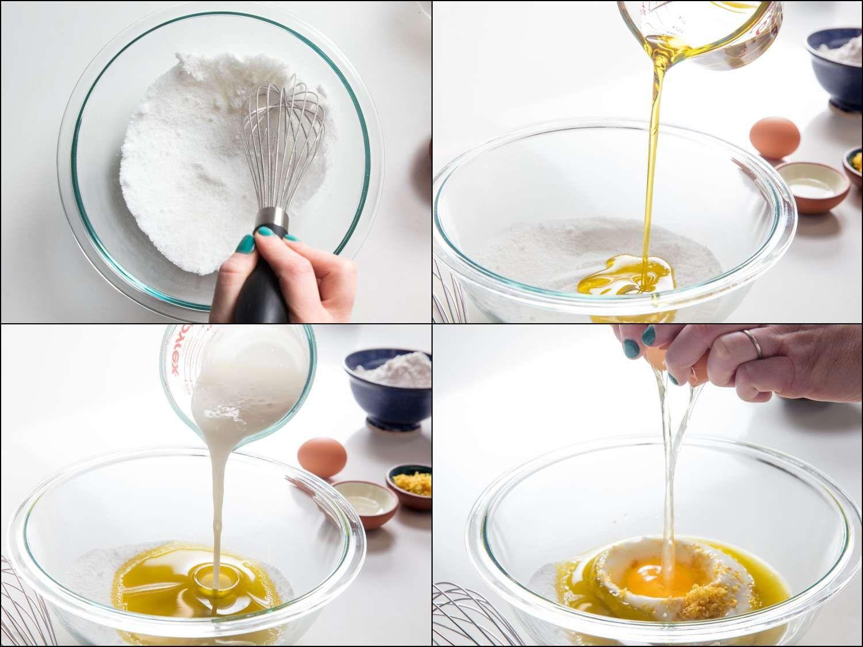 preparing the cake batter