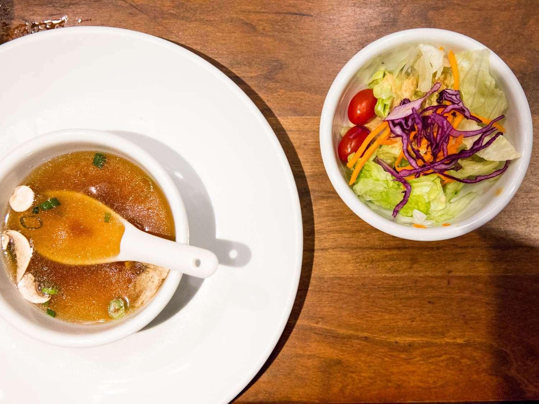 The Benihana's signature onion soup and salad