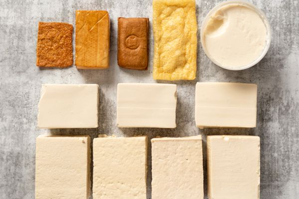 different types of tofu overhead shot