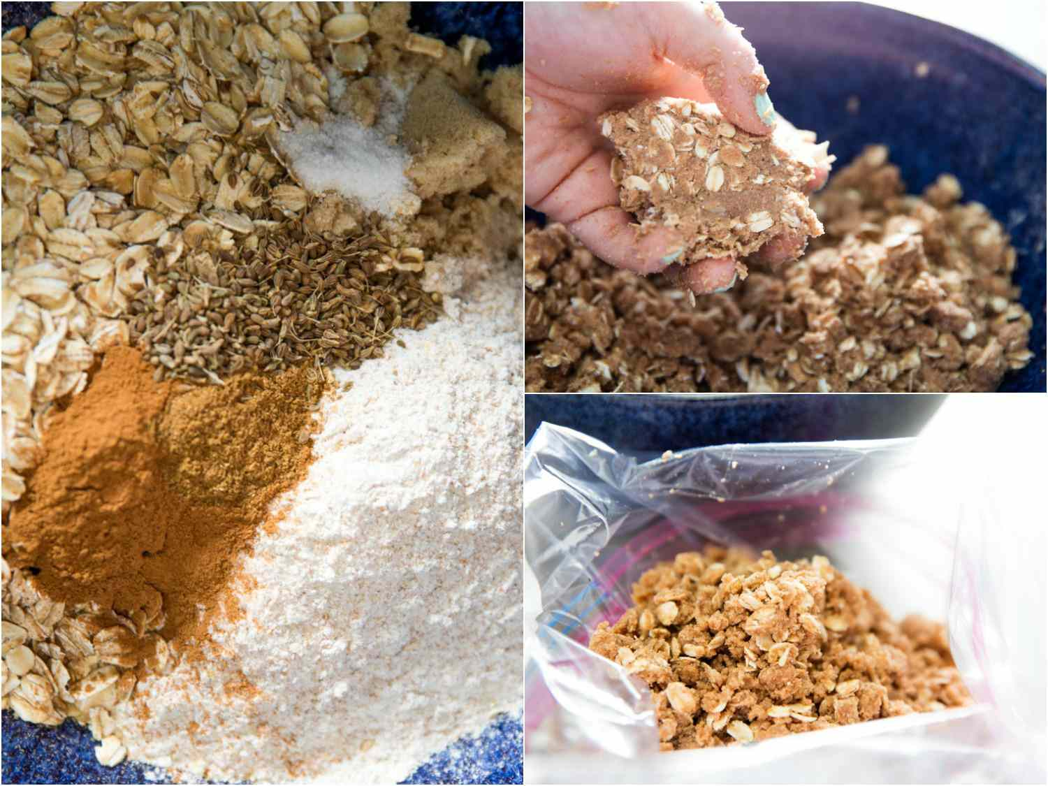 Collage of making streusel topping for rhubarb crisp: oats, sugar, flour, and spices in mixing bowl; hand with a clump of streusel; streusel in plastic bag