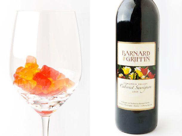 fruit gummy bears and wine