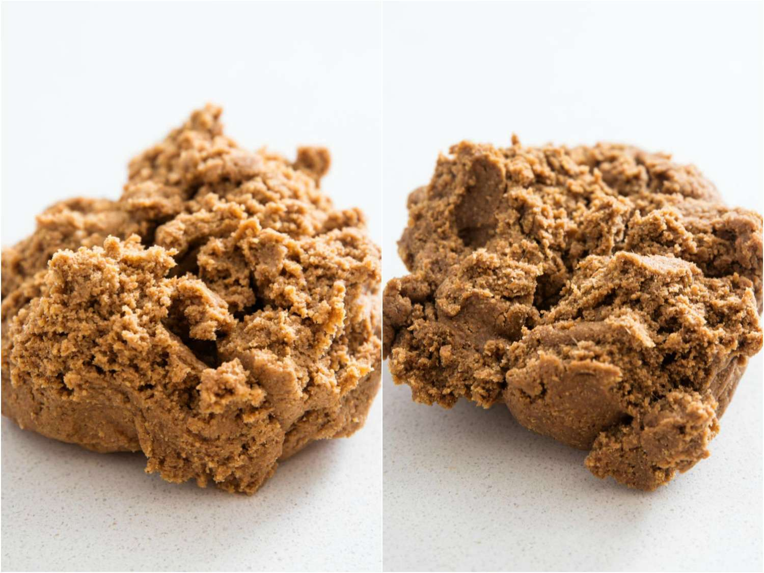 Gingerbread dough made with molasses and darker dough made with blackstrap molasses