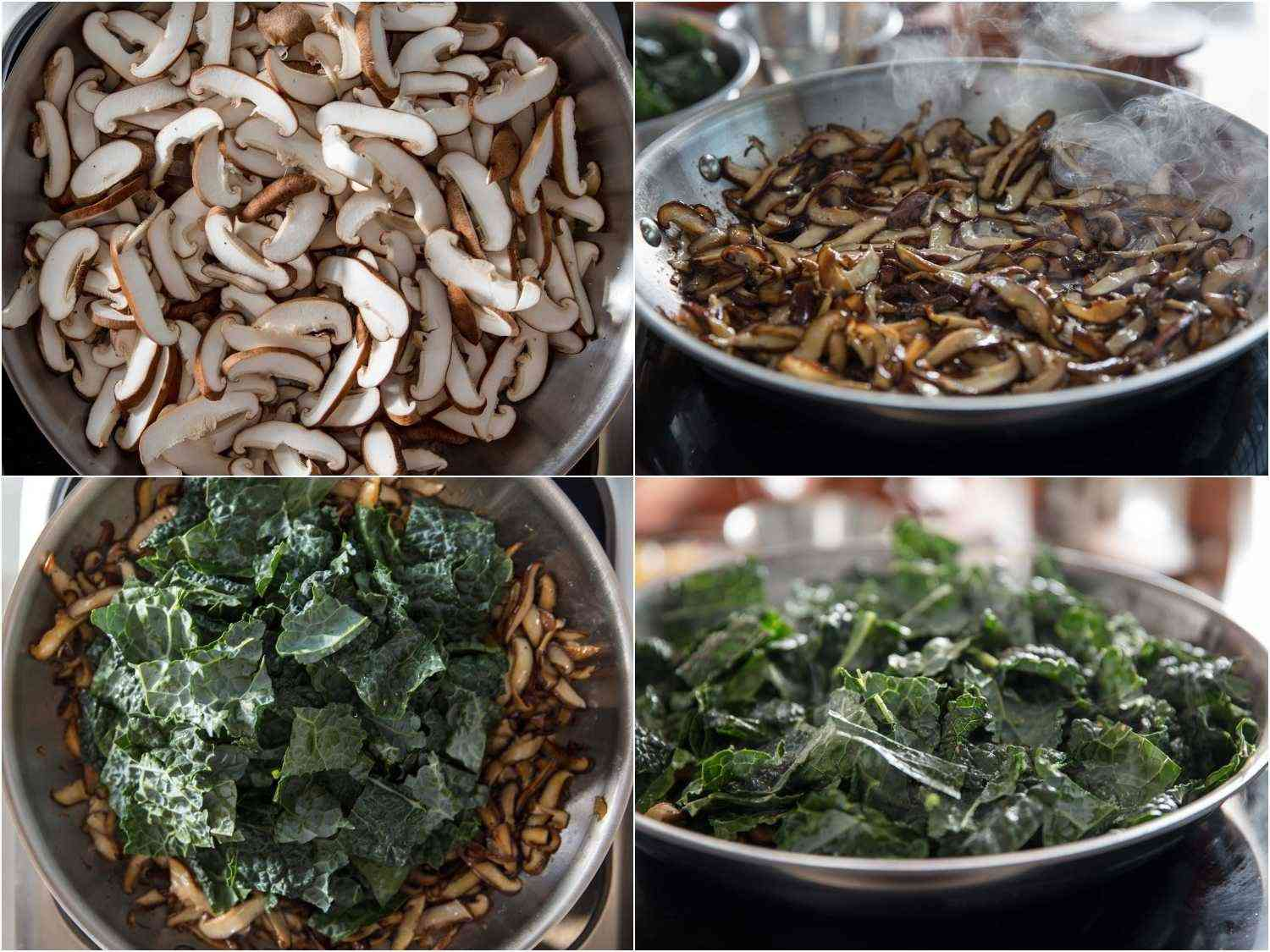 Process shots of browning mushrooms and wilting kale in a skillet.