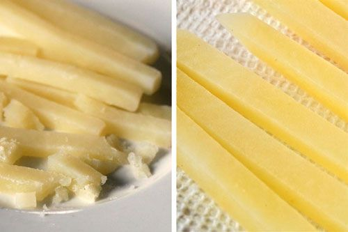 Collage showing parboiling french fries in water versus water and vinegar