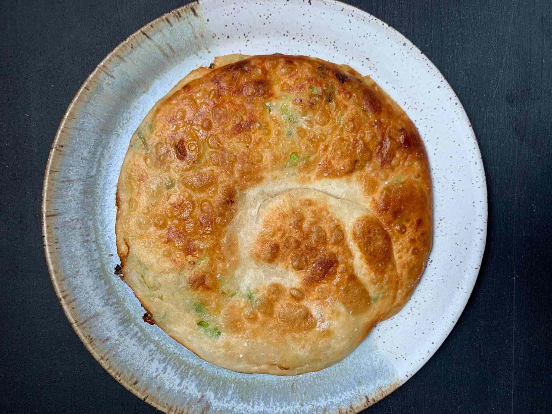 Cheese scallion pancake overhead