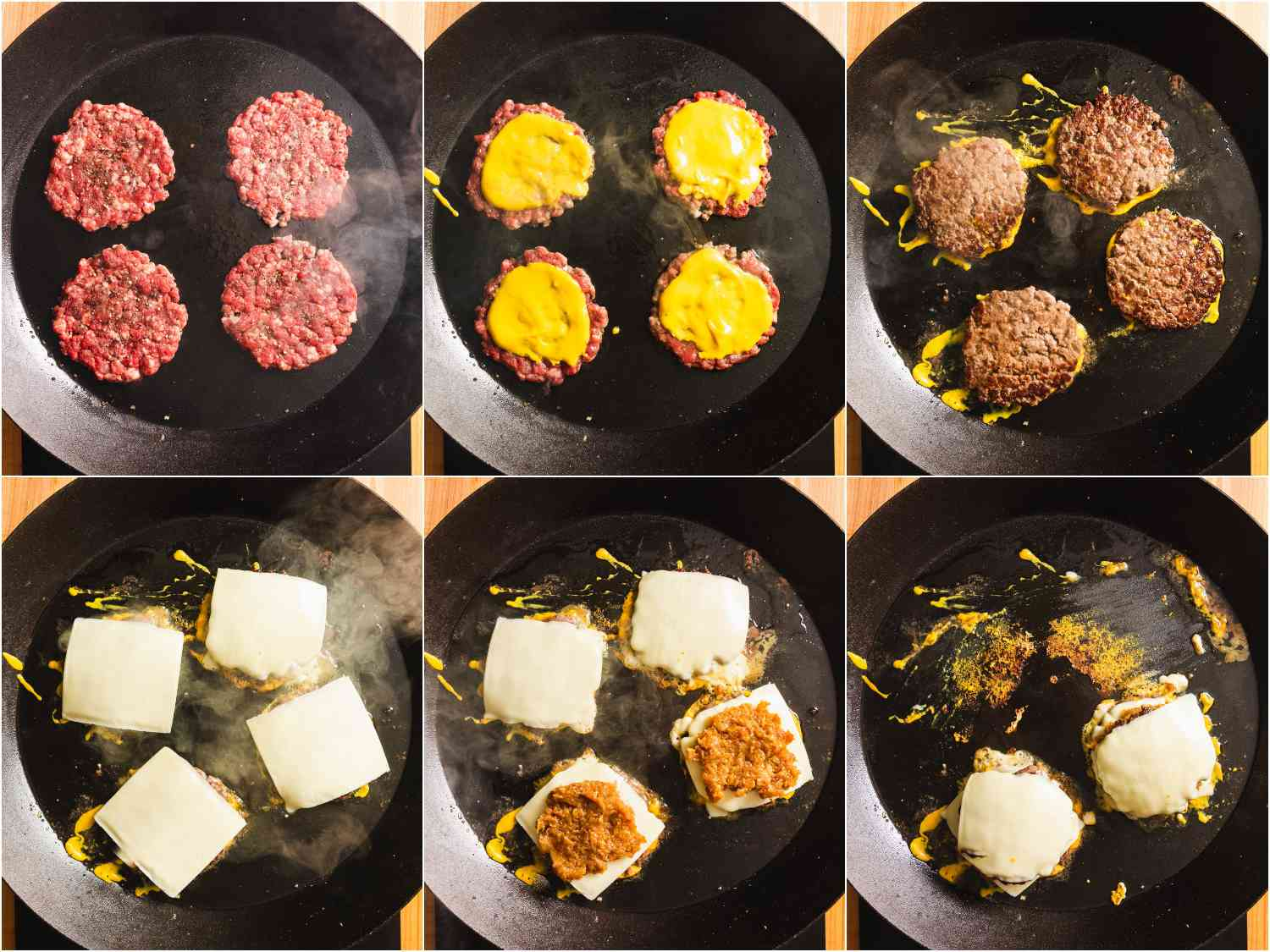 collage: cooking burgers; adding mustard; flipping; adding cheese; adding onions; stacking burgers