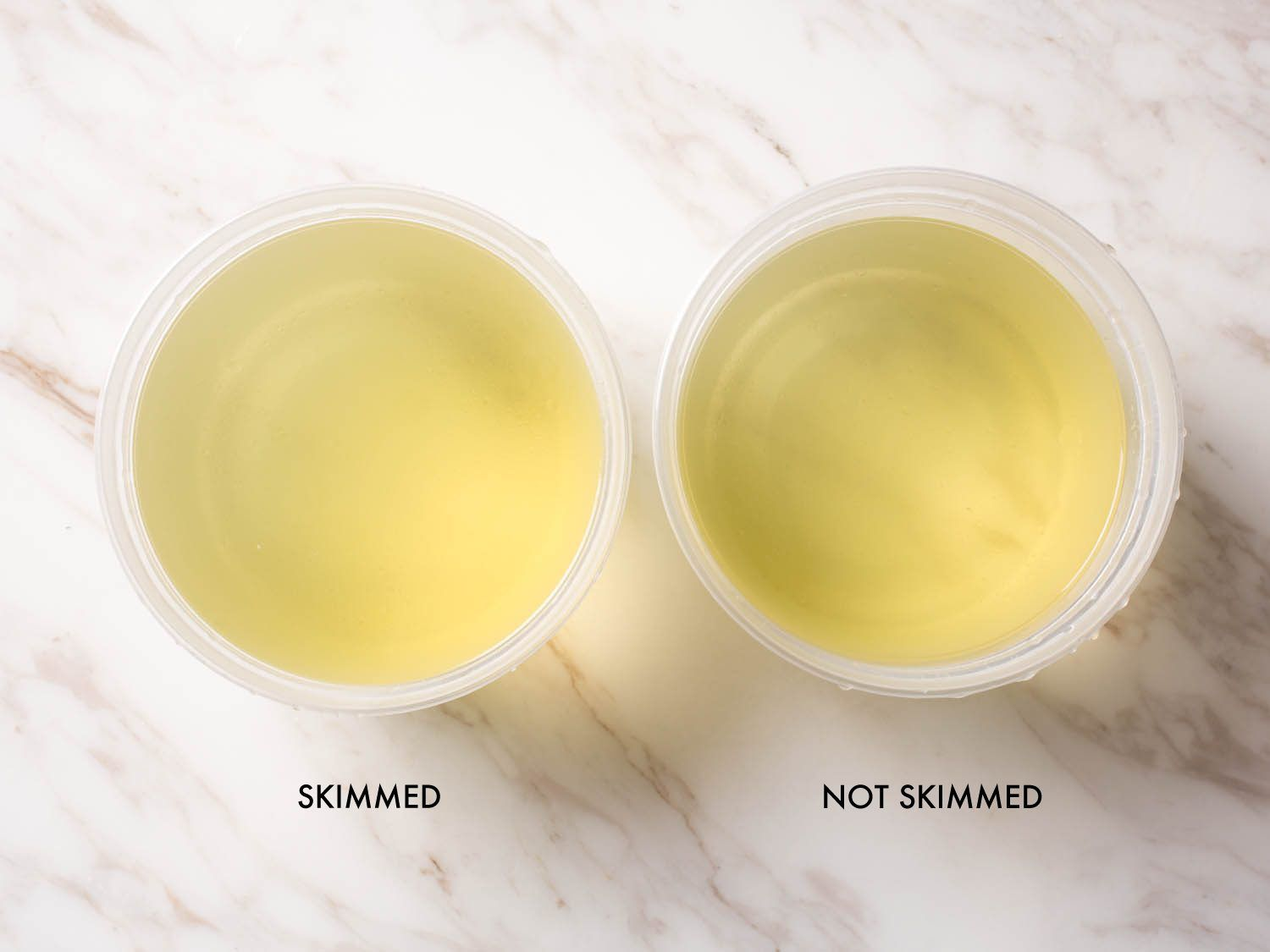 Labeled photo comparing skimmed and unskimmed stock.