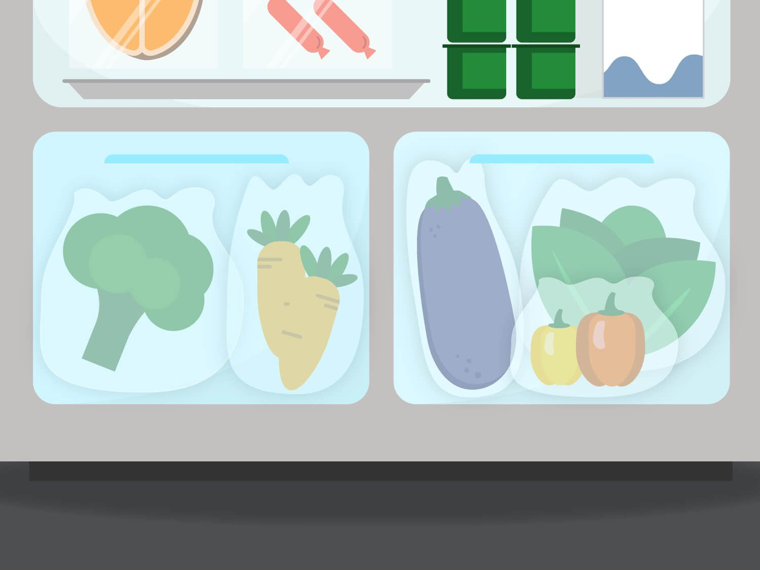 Graphic illustration of the crisper drawers in a refrigerator, holding various vegetables