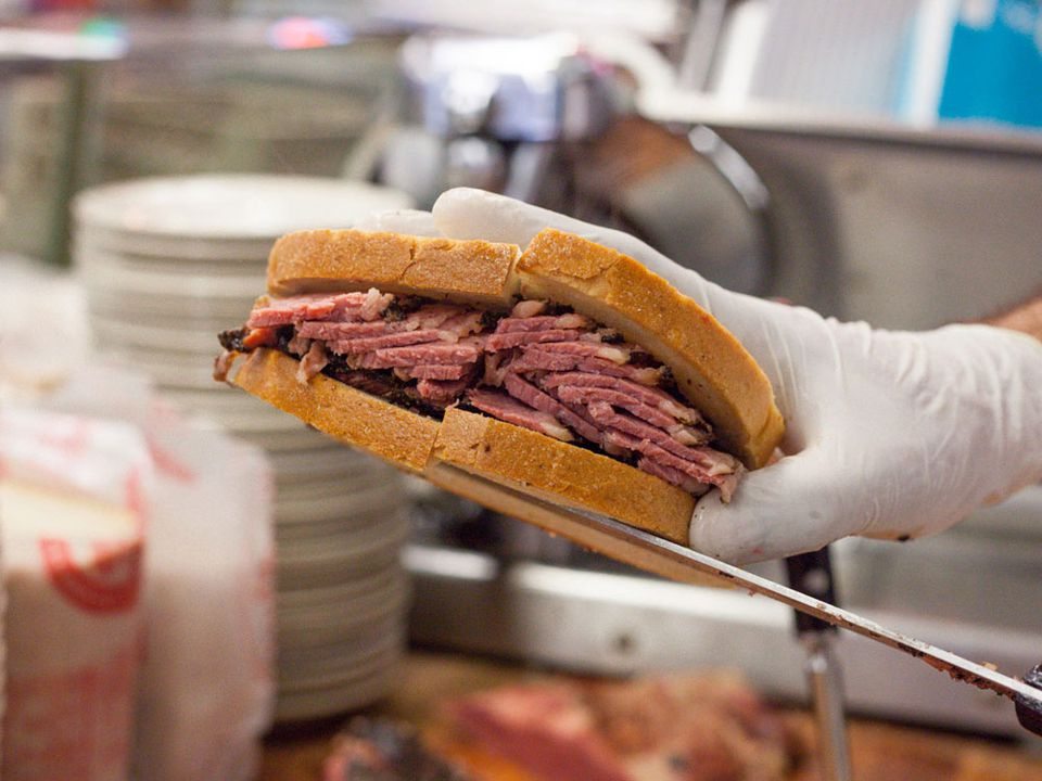 A pastrami sandwich from Katz's Deli in New York.