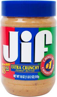 A jar of Jif Extra Crunchy peanut butter