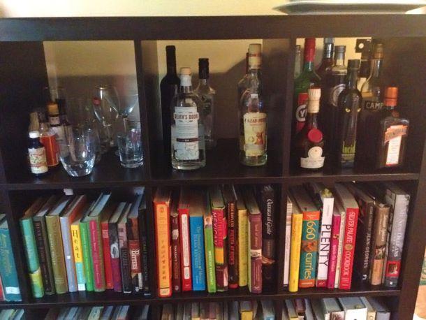 home bar on top of bookshelves