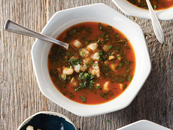 Hominy and Spinach in Tomato-Garlic Broth