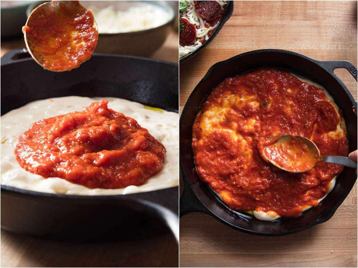 Collage of photos depicting saucing a pan pizza dough before topping