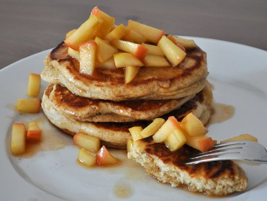Rye Pancakes with Apple-Maple Compote