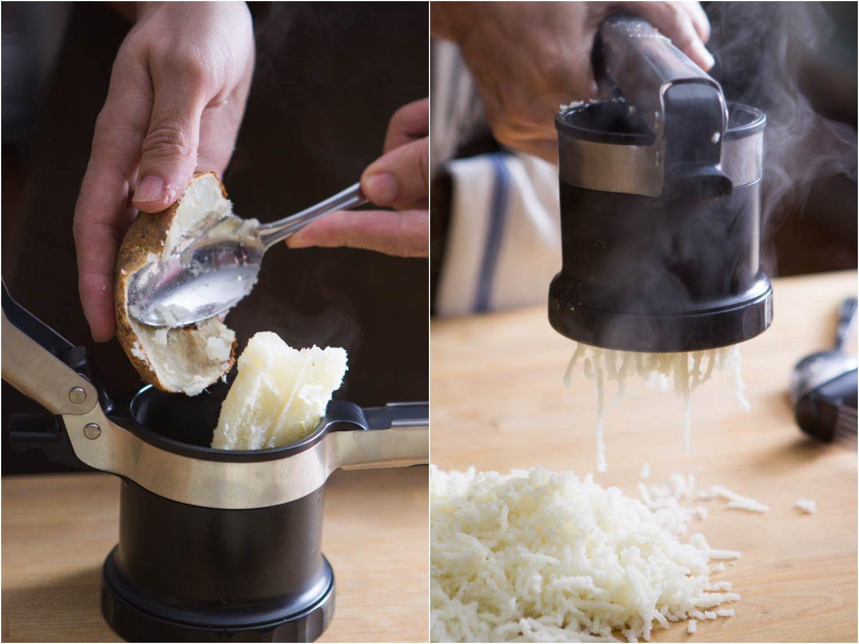Ricing a potato in a potato ricer