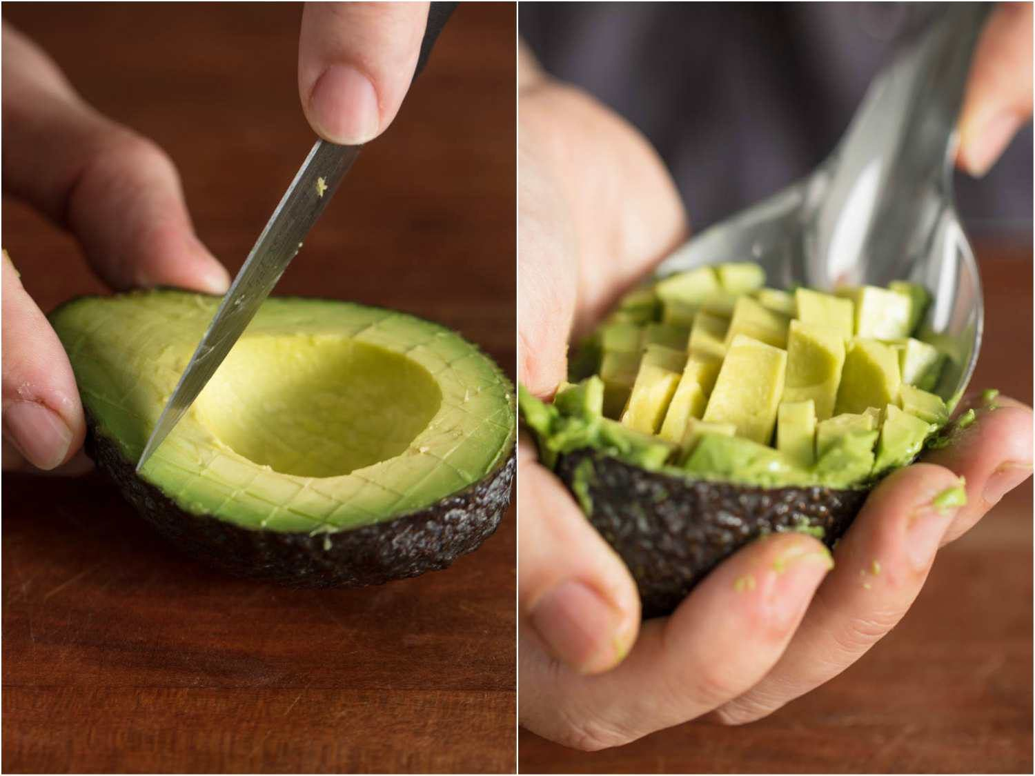 Collage of two photos: dicing an avocado half and scooping out the dice