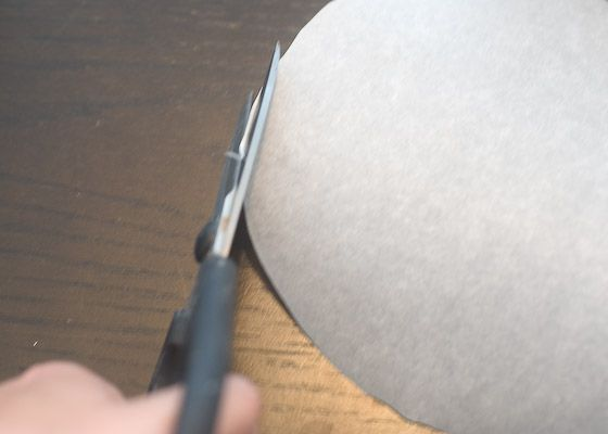 parchment shaped to cake pan