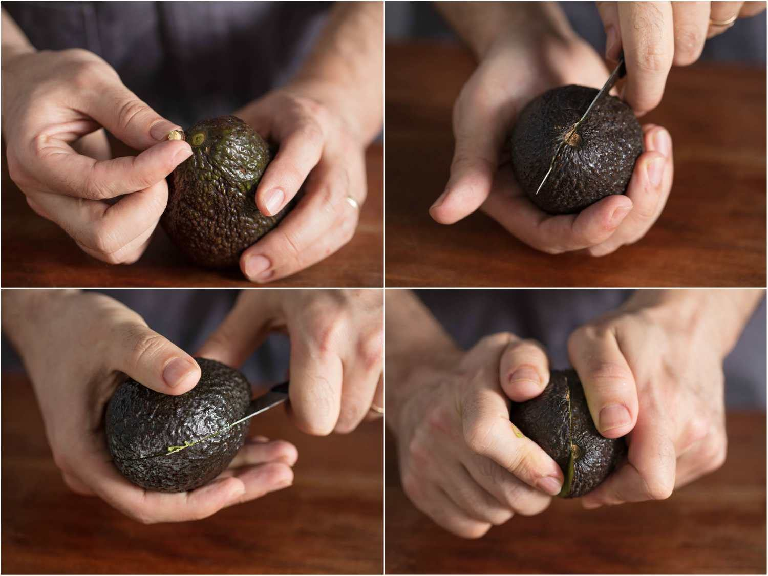 Collage of four photos: removing avocado stem, halving avocado by rotating knife around the fruit, and splitting apart the two halves