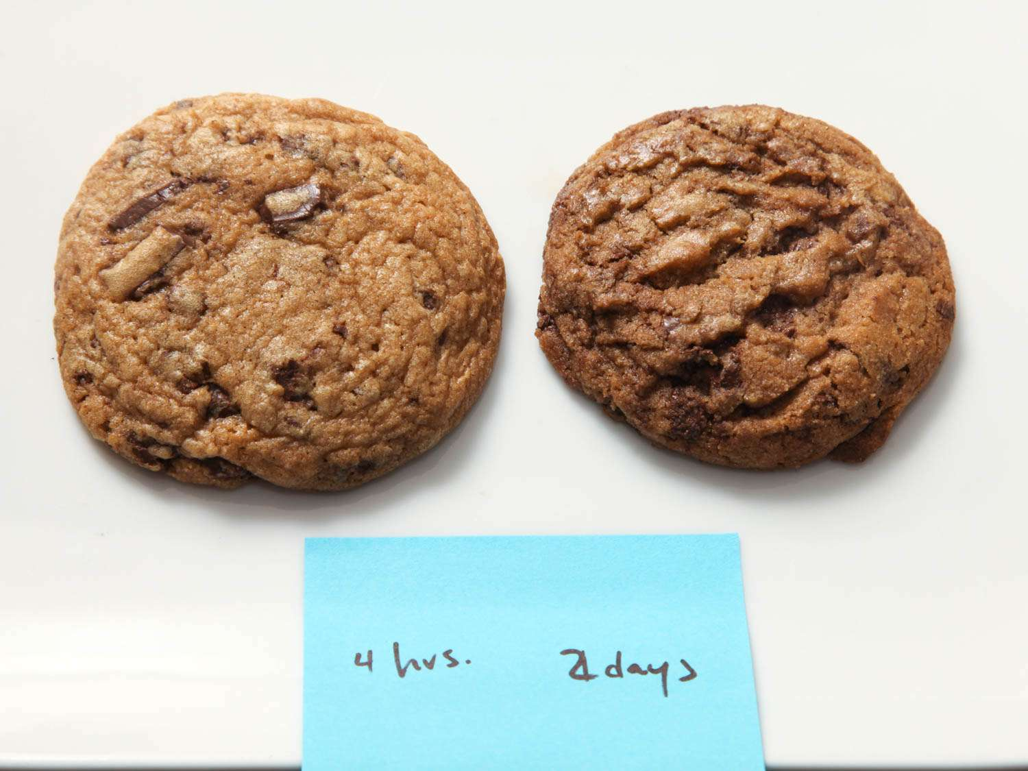 Side-by-side photograph showing one chocolate chip cookie made after dough rested for 4 hours (left) and one cookie made after dough rested for 2 days (right).