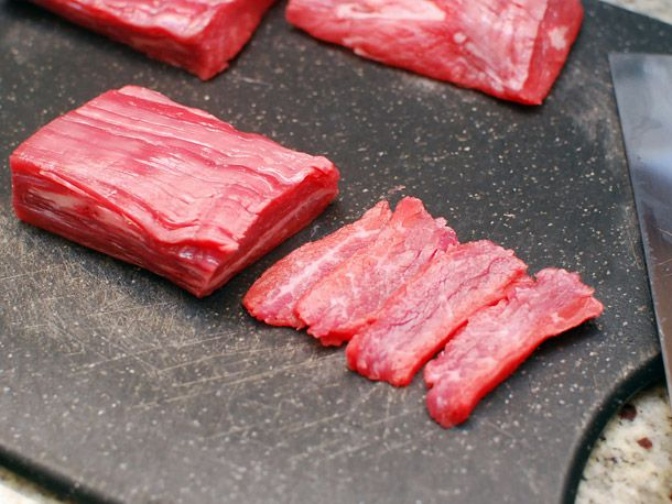 cutting beef for stir-fry