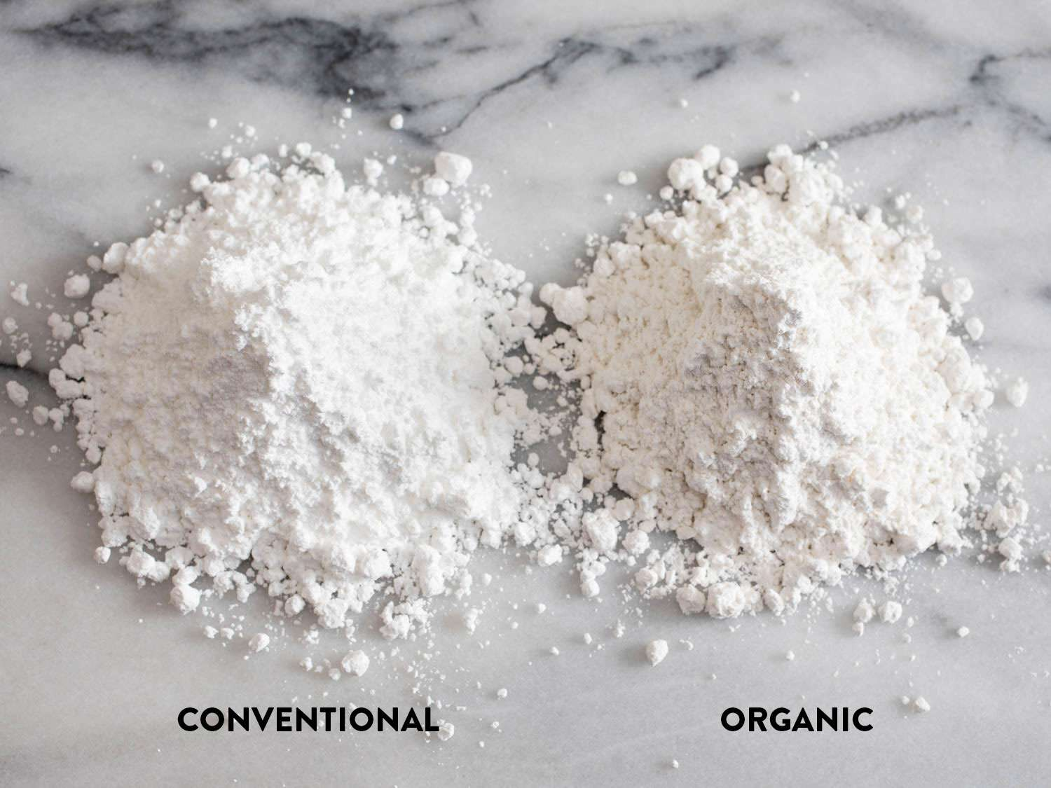 Comparison of conventional and organic powdered sugars, against a marble background