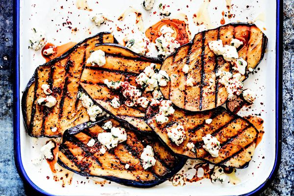 grilled eggplant with feta