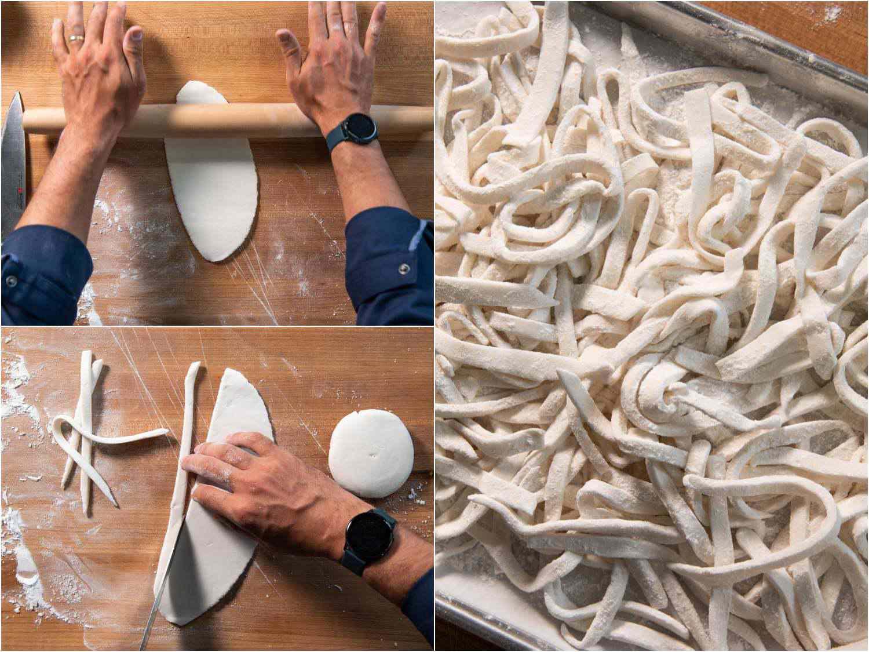 Roll dough and form noodles for khao piak sen