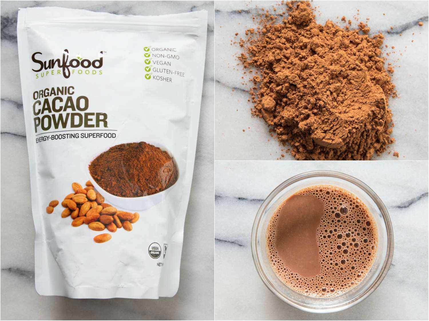 Collage of Sunfood cocoa powder, by itself, in hot cocoa, and in the packaging
