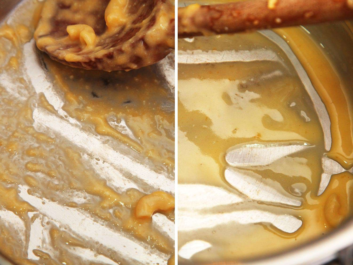 Comparing a béchamel-based sauce and one made with pure starch and evaporated milk