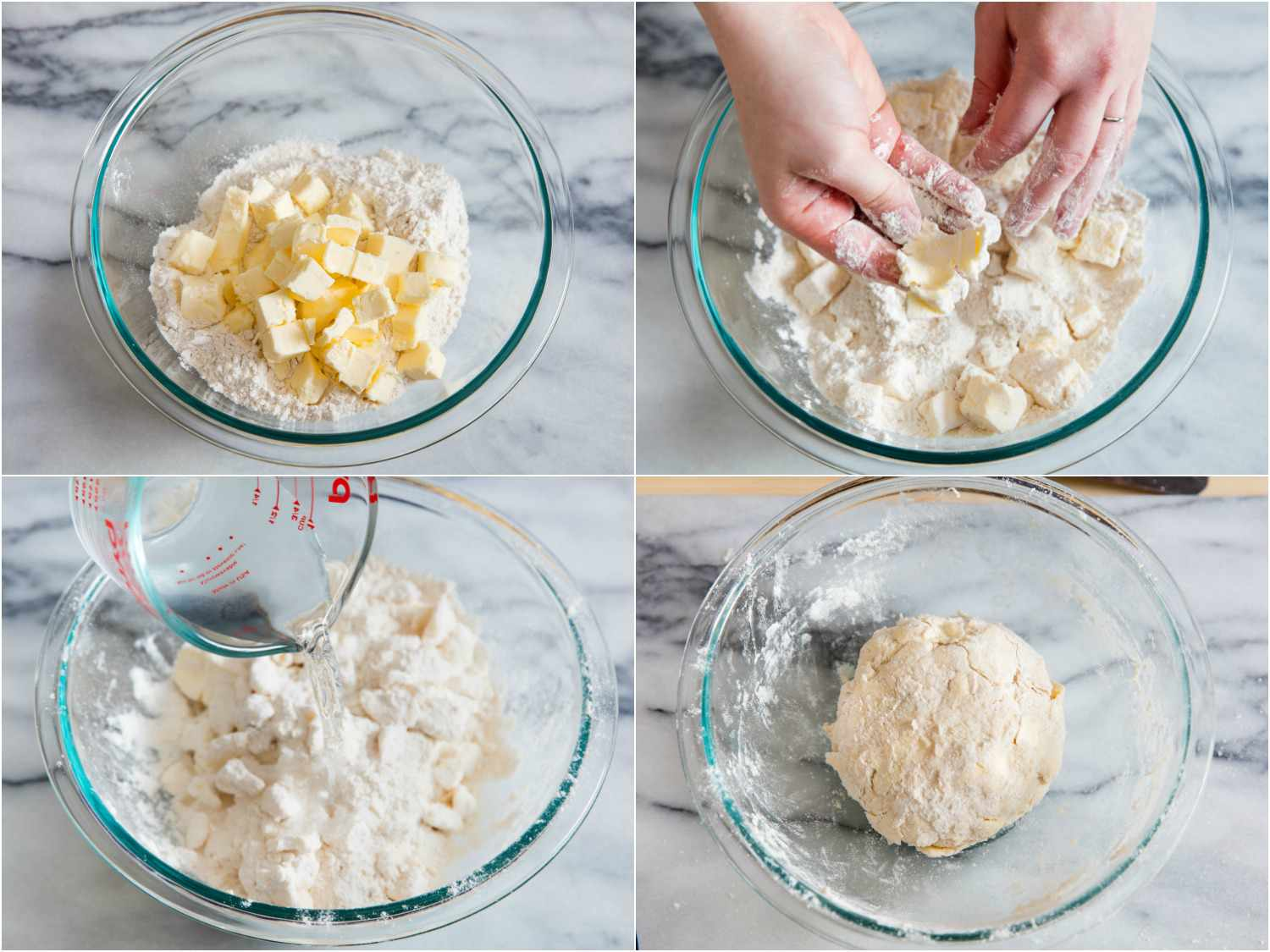 Collage of making dough for pie crust: adding cubes of butter to dry mixture, tossing butter with flour and smashing flat, adding water, ball of finished dough