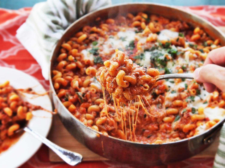 American Chop Suey (Macaroni, Beef, and Cheese Skillet Casserole) Recipe