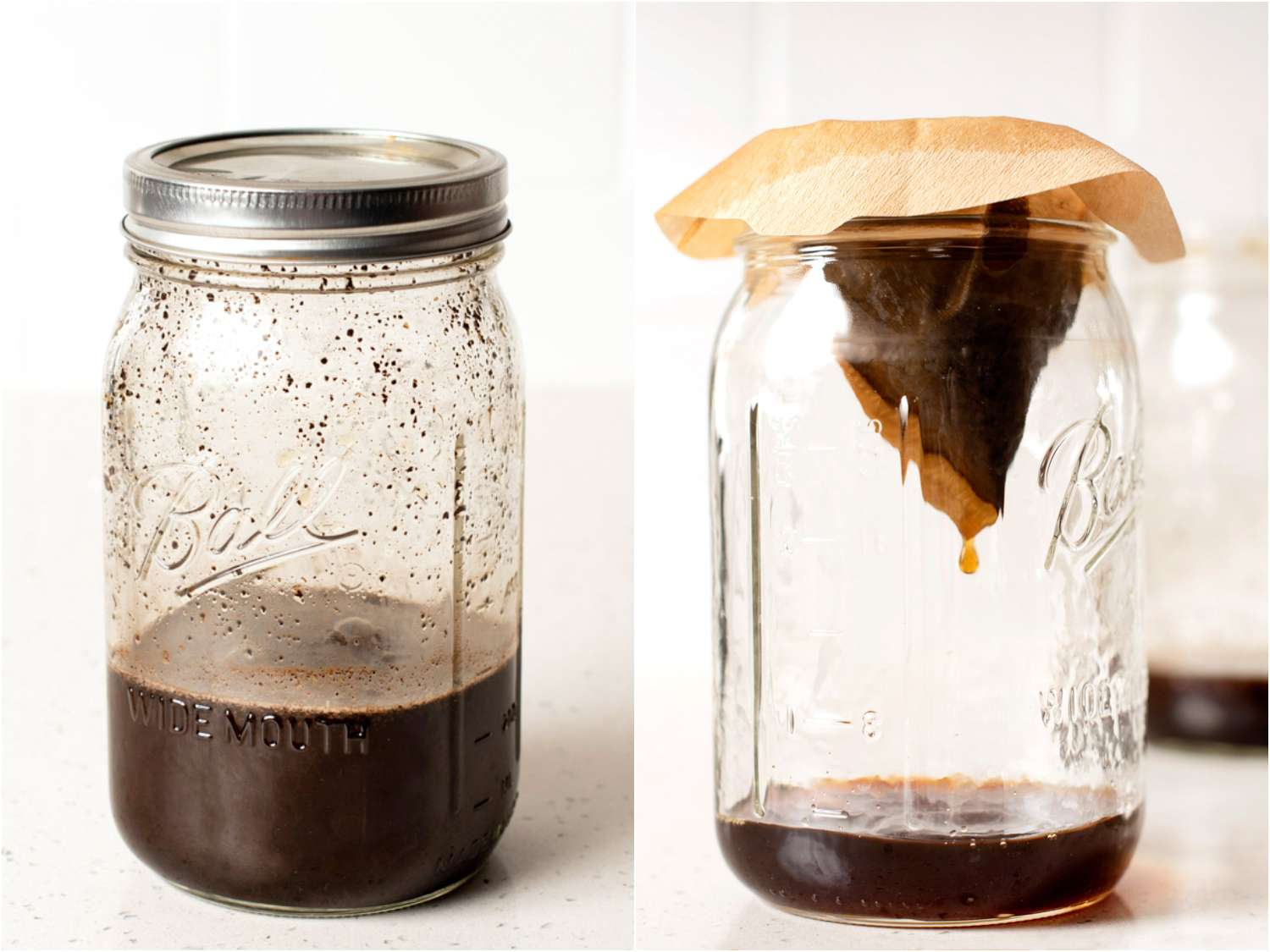 collage: a jar filled with coffee grounds and water, just shaken; mixture strained through coffee filter